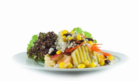 Healthy vegetarian Salad on the grey plate