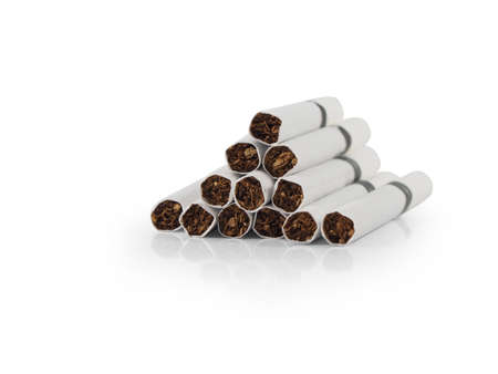 pernicious habit: cigaret on white background