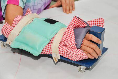 elbow brace: An injured arm