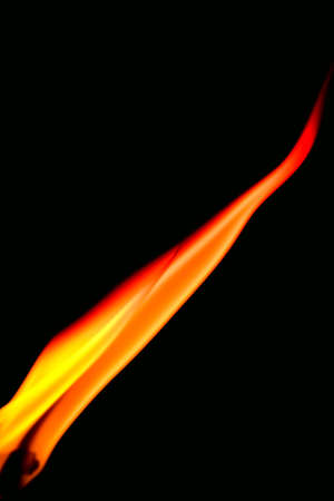 wick: Wick and flame macro photo isolated on black background Stock Photo