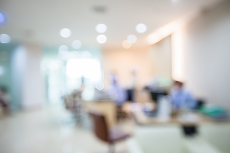 Blur image of people in clinic lobby hall at modern hospital 免版税图像