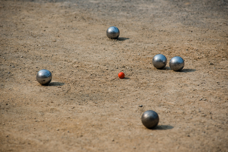Petanque ball on the play ground Stock Photo