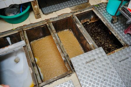 Grease trap, waste disposal treatment ponds, waste water disposal procedures