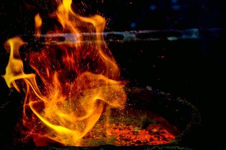 méthode de coulée de métal au feu rouge à haute température