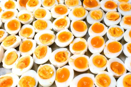 Peeled boiled egg ,Medium-boiled egg.Many eggs cooked to boil cooked to put together as food. Stok Fotoğraf