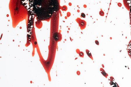 Realistic bloody splatters. Drop and blob of blood. Bloodstains.