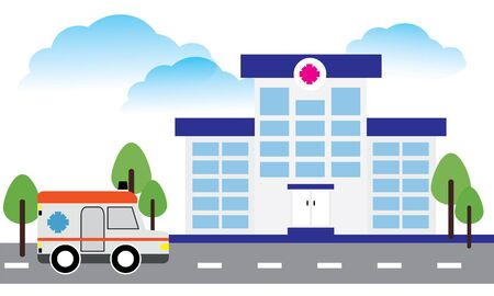 Medical concept with hospital buildings and ambulances in a smooth style 免版税图像