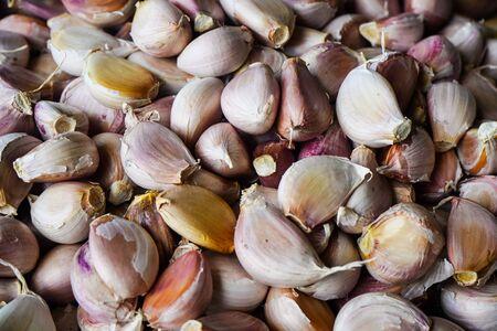 Fresh garlic cloves in the market