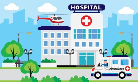 Patient care concept. Vector of doctor team standing on a hospital building, ambulance car background