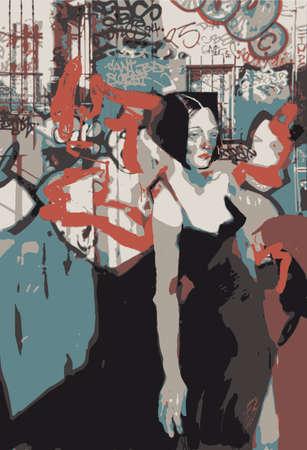 arte callejero: muchacha en un fondo de arte de la calle Vectores