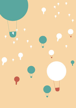 colored balloons: many colored balloons flying in the sky Illustration