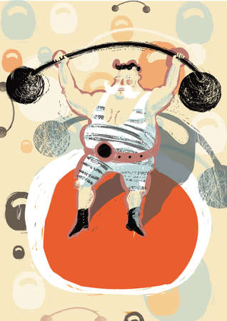 hand lifting weight: illustration with colored circus tent athlete which holds a rod Illustration