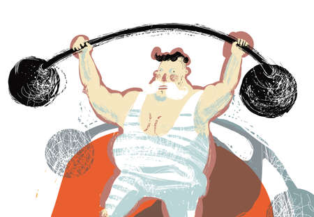 man lifting weights: illustration with colored circus tent athlete which holds a rod Illustration