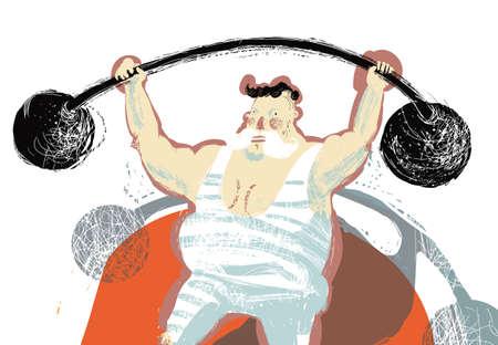 hombre levantando pesas: ilustraci�n con color atleta carpa de circo que tiene una varilla