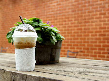 Ice coffee and garden photo