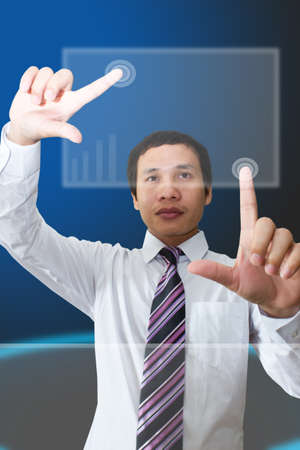 Man is pressing futuristic screen photo