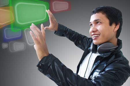 Man touching screen photo