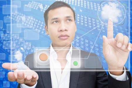 Business Man using Network photo