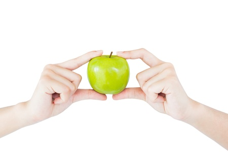 Hand Holding Green Apple Concept For  Wellbeing photo