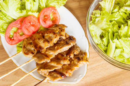 shishkabab: Pork  Barbeque With Salad