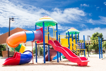 playground equipment: Playground With Sky Background