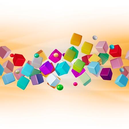 Colorful 3D Cube Background Zdjęcie Seryjne - 18894852