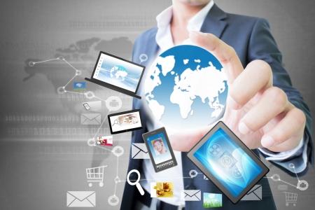Homme d'affaires avec la technologie In Hand Banque d'images