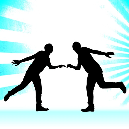 cooperate: Cooperate Concept With Silhouette People