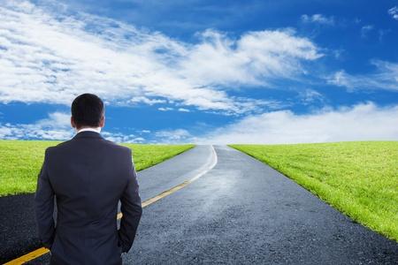 Businessman Looking Forward, concept et les idées d'affaires Banque d'images