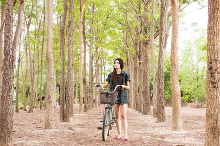 Girl With Bicycle Series,Walking With Nature photo