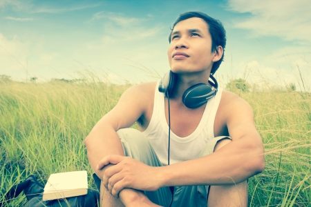country music: Man Listening To Music Series,Feel The Nature,Dramatic Look