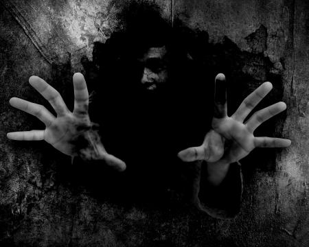 Depuis les ruines, noir et blanc Horreur arrière-plan pour Halloween Concept