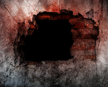 black hole: Old Concrete Wall With Broken Tiles Stock Photo