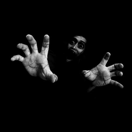 ghost face: Never Leave Me Alone, Bianco e Horror Sfondo Bianco Per Il Concetto di Halloween Archivio Fotografico