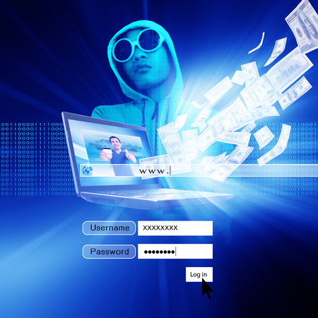 Hacker With Log On Screen,Computer Fraud,Financial Fraud, Concept Background  photo