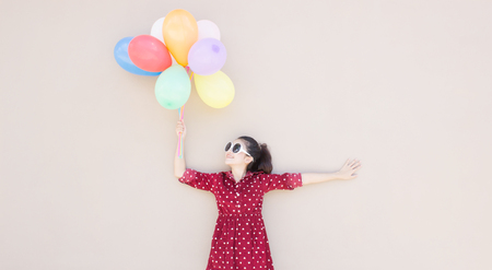 Girl With Colorful Balloons Series,For Lifestyle ,Celebrate,Fashion Vintage Concept  photo