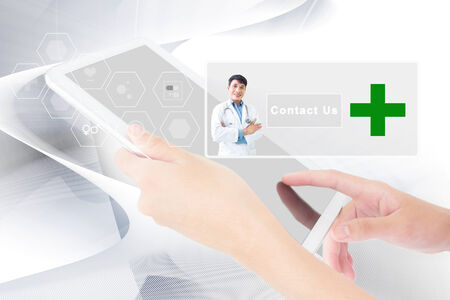 Business Person Working On A Digital Tablet,Medical And Healthcare Concept Add  More Text  And Ideas photo