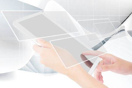 Business Person Working On A Digital Tablet,Blank Screen Add  More Text  And Ideas  Stock Photo