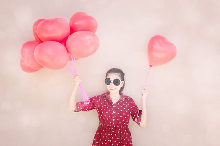 Girl With Colorful Heart Balloons Series ,For Lifestyle ,Celebrate,Fashion Vintage,Valentines Day Concept  photo