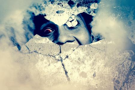Haunted Wall, Horreur fond pour un projet de films de l'affiche Banque d'images