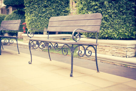 Bench Decorated In The Garden,Retro photo
