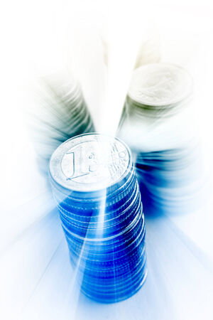 european exchange: Money Concept,Euro Coin With Blue Burst Background