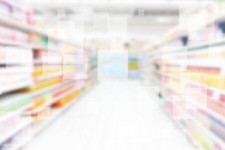 Supermarket Shelves Blurred Background Zdjęcie Seryjne