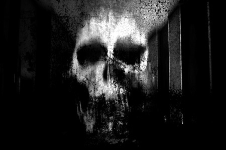 diavoli: Horror Skull, Bianco e nero orrore Sfondo Per Concetto di Halloween e Movie Poster Progetto Archivio Fotografico