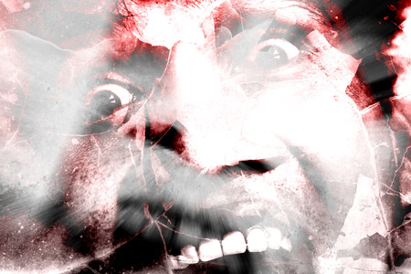 shouting: Shattered Terror,Horror Background For Halloween Concept And Movie Poster Project Stock Photo