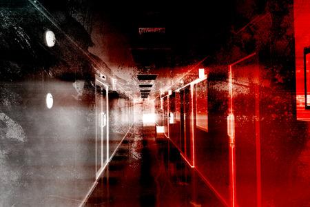 本の表紙と映画ポスター プロジェクトの怖い背景恐怖の病院 写真素材