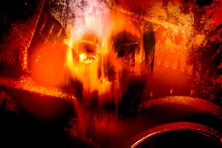 demonio: Horror cráneo, horror de fondo para el concepto de Halloween y Proyecto cartel de película