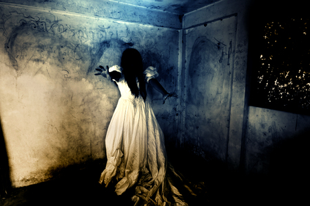 Night of the Revenge Part 2,Ghost in Haunted House,Mysterious Woman in White Dress Standing in Abandon Building,Horror Background For Halloween Concept and Book Cover Ideas
