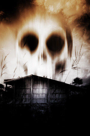 Haunted House,Horror Background For Halloween Concept or Book Cover