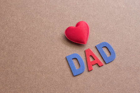 Love Dad,Fathers Day Background With Red Heart Shape and Letter Stock Photo